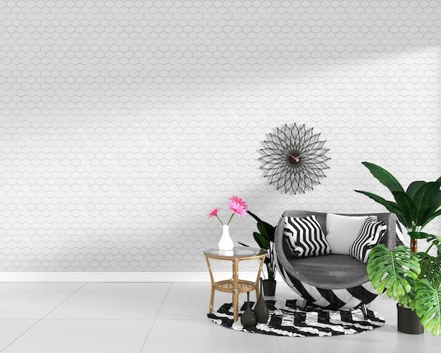 Moderna sala interior con decoración sillón. representación 3d