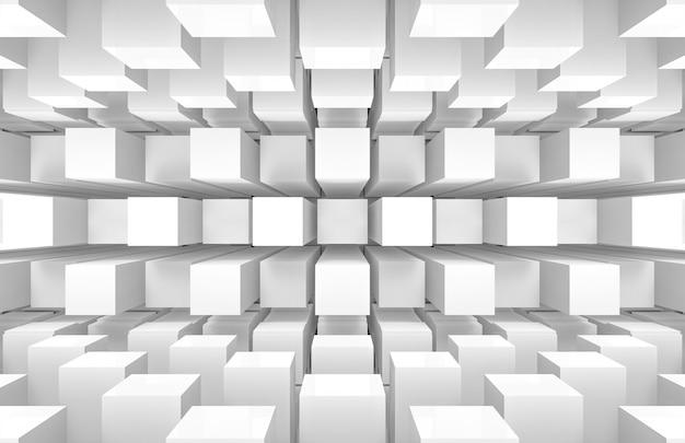 Modernas cajas cuadradas redondas blancas futuristas apilan pared y piso