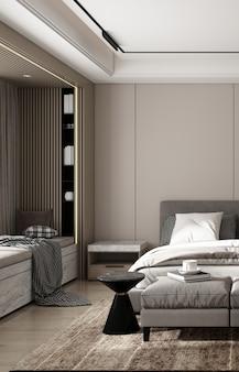Moderno y acogedor diseño de dormitorio interior de maqueta y decoración de fondo de pared de madera con mesa auxiliar de representación 3d