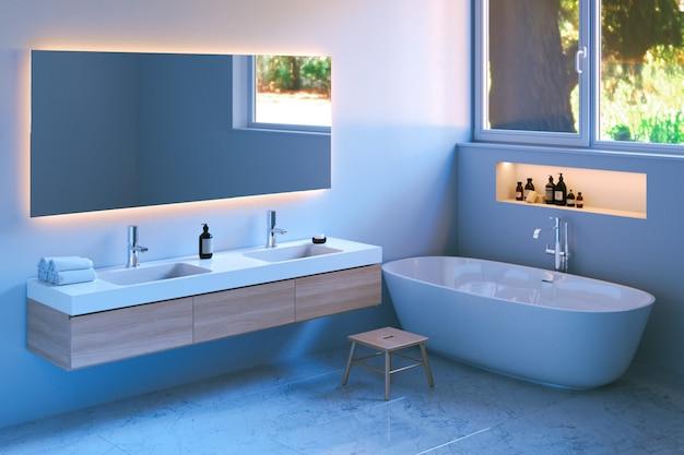 Moderno baño interior con suelo de mármol.