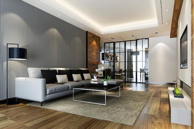 Moderno comedor y cocina con sala de estar con decoración de lujo.