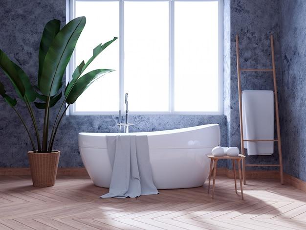 Moderno diseño de interiores de baño loft, bañera blanca en muro de hormigón, render 3d