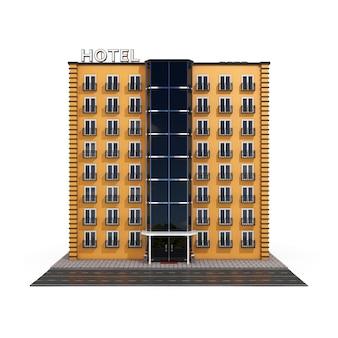Moderno edificio de hotel naranja con street road sobre un fondo blanco. representación 3d