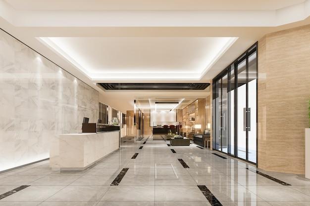 Moderno hotel de lujo y recepción de oficina y salón con sala de reuniones