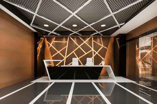 Moderno hotel de lujo y recepción de oficina y salón