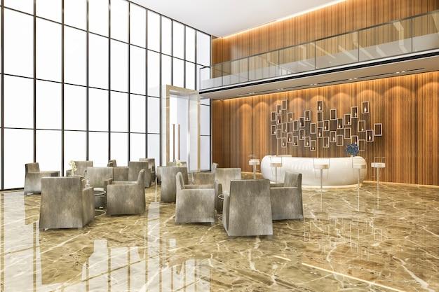 Moderno hotel de lujo y recepción de oficinas y salón de reuniones