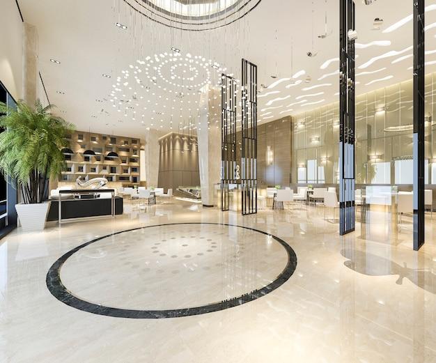 Moderno hotel de lujo y recepción de oficinas y salón