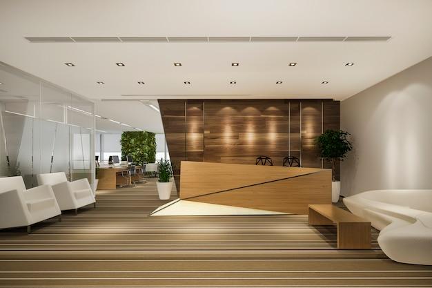 Moderno hotel de lujo y recepción y salón de oficina
