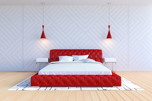 Moderno interior de dormitorio contemporáneo en color blanco y rojo, renderizado 3d