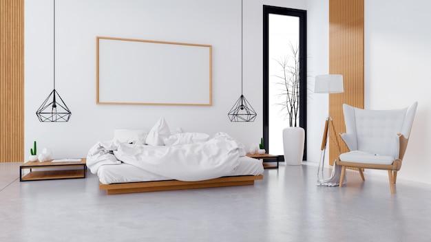 Moderno interior de loft de diseño dormitorio y estilo acogedor.
