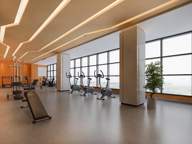 Moderno loft naranja gimnasio y fitness