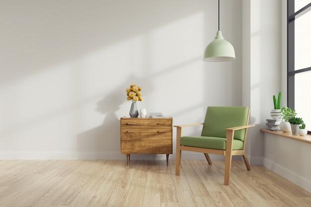 Moderno medio siglo e interior vintage de salón.