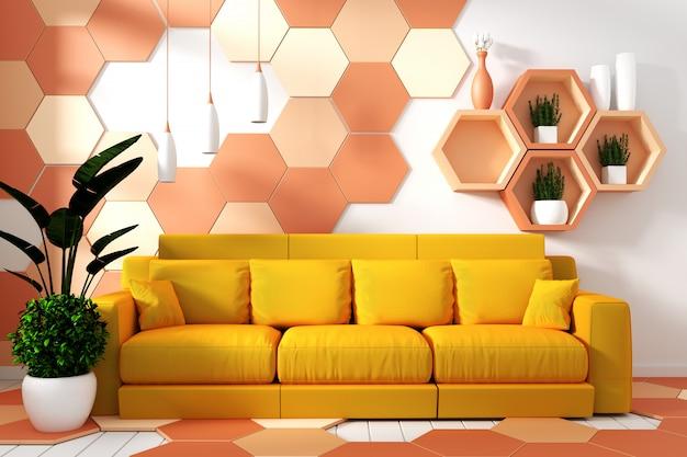 Moderno salón interior con decoración sillón y plantas verdes.