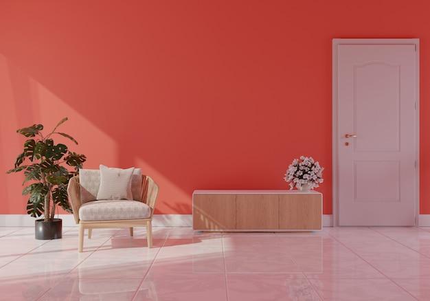 Moderno salón interior con sofá en color coral vivo del año 2019,3d rendering