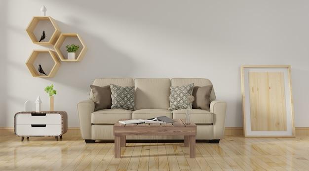 Moderno salón interior con sofá de color coral vivo y plantas verdes.