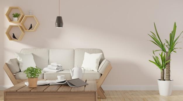 Moderno salón interior con sofá y plantas verdes.