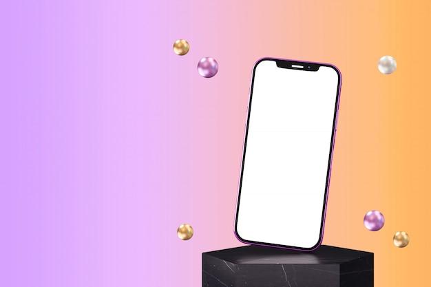Moderno teléfono inteligente sin marco con pantalla en blanco en blanco