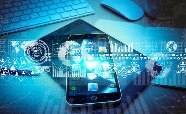 Moderno teléfono móvil con gráficos digitales e interfaz de pantalla.