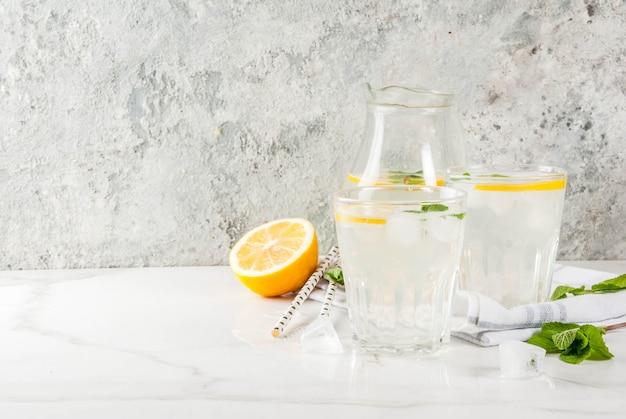 Mojito con menta fresca, rodajas de limón y hielo