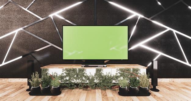 Moldura de aluminio en diseño de pared negra y piso de madera con gabinete de madera y tv simulada