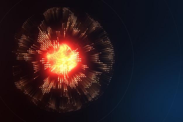 Molécula abstracta de energía dentro del planeta tierra