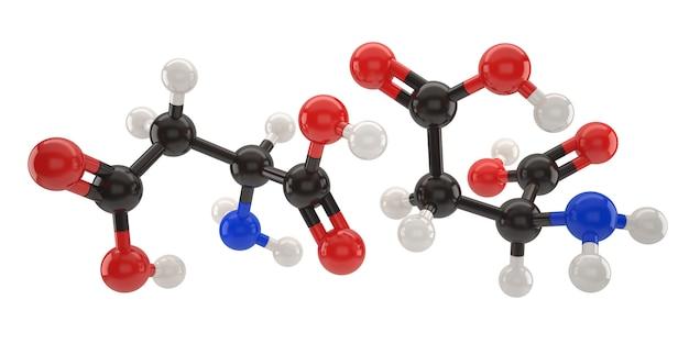 Molécula de ácido aspártico ilustración 3d con trazado de recorte