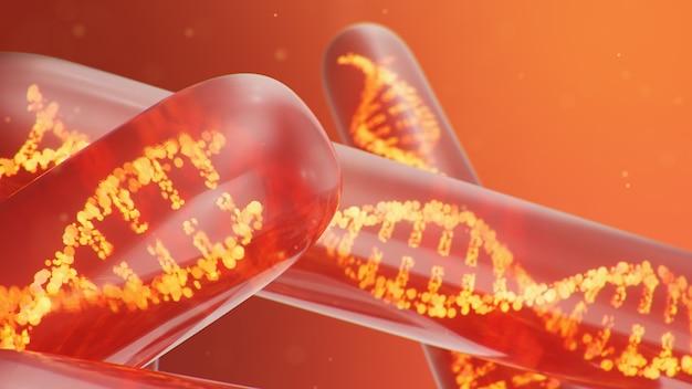 Molécula de adn, su estructura. concepto genoma humano. molécula de adn con genes modificados. ilustración conceptual de una molécula de adn dentro de un tubo de ensayo de vidrio con líquido. equipamiento médico, ilustración 3d