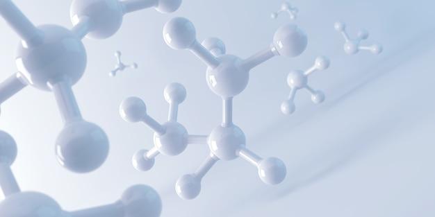 Molécula blanca o átomo, estructura abstracta limpia para la ciencia o antecedentes médicos