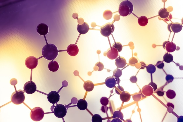 Molécula de la ciencia, estructura del modelo de adn molecular, concepto de trabajo en equipo empresarial