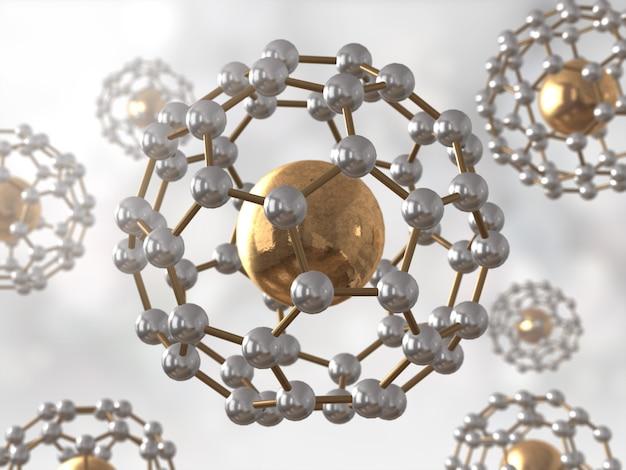Molécula de ciencia, modelo de adn, modelo de átomo, render 3d,