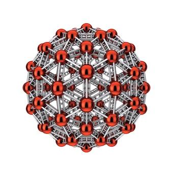 Molécula científica metálica abstracta o átomo sobre un fondo blanco. representación 3d