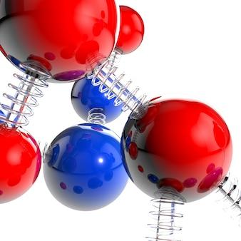 Molécula y átomo rojo y azul de la representación 3d vidrio y bobina estilo de la primavera y fondo blanco