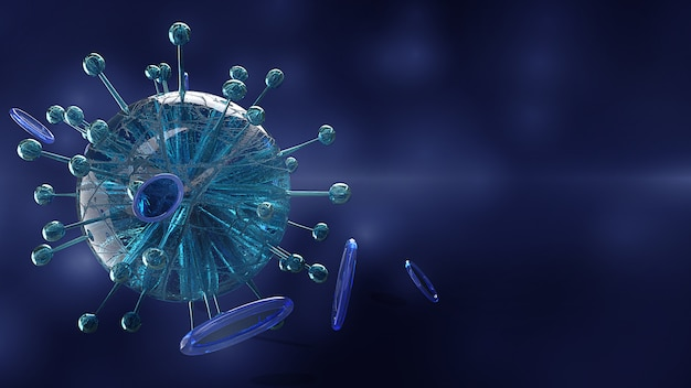 Moléculas de coronavirus microscópicas, render 3d