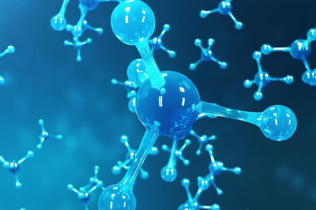 Moléculas de renderizado 3d. átomos de fondo. antecedentes médicos para pancarta o folleto. estructura molecular a nivel atómico.