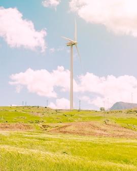 Molino de viento en prado verde en día soleado