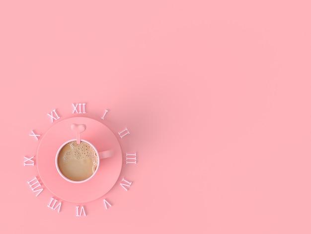 El momento del concepto de idea de amor. la taza del rosa del café de la leche en fondo en colores pastel rosado con el espacio de la copia para su texto, 3d rinde.