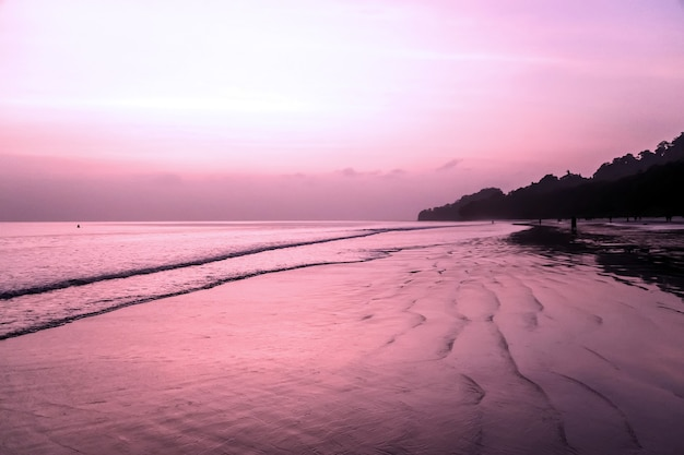 Momento romántico, radhanagar beach, havelock island. magnífica belleza de la puesta de sol en la playa más hermosa de asia.