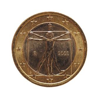 Moneda de 1 euro, unión europea, italia aislado sobre blanco
