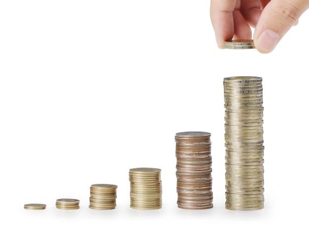 Moneda al dinero, ideas de negocios en la mano