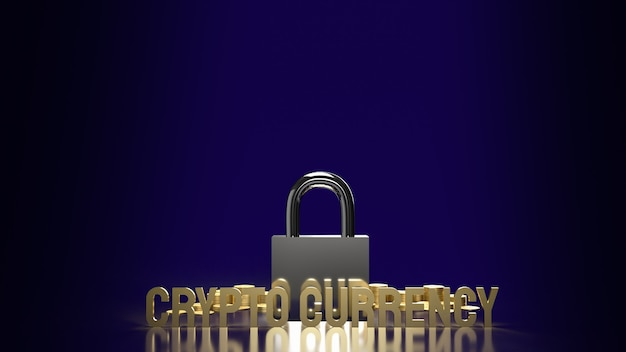 La moneda criptográfica de texto dorado y el bloqueo para la representación 3d de contenido empresarial de seguridad.