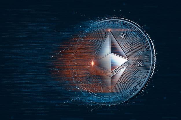 Moneda digital ethereum sobre fondo oscuro