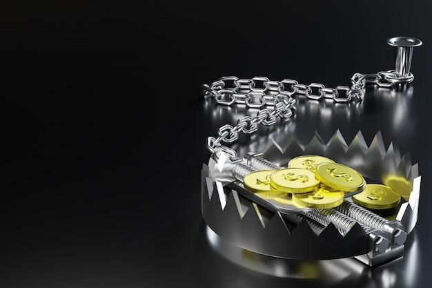 La moneda de un dólar de oro está carnada en una trampa para osos y la trampa está encadenada por una cadena de hierro a un ancla en fondo negro. representación de ilustración 3d.