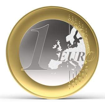 Moneda de un euro sobre fondo blanco, vista frontal. render 3d.