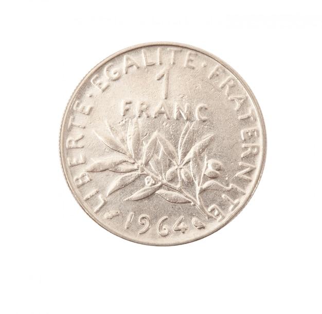 Moneda de metal vintage en fondo blanco