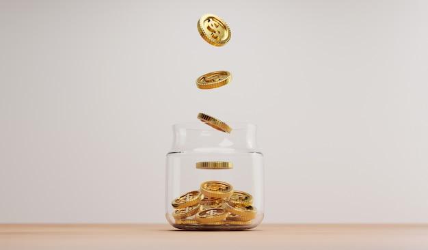 Moneda de oro cayendo al tarro de ahorro transparente en la mesa de madera para la inversión y el concepto de depósito de ahorro financiero bancario por representación 3d.