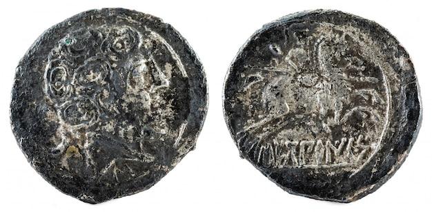Moneda de plata, antiguo secobirices ibérico españa denario de plata,