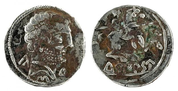 Moneda de plata, antiguo turiaso ibérico españa denario de plata,