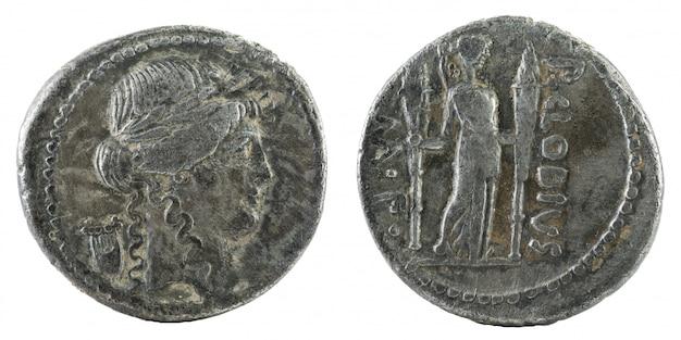 Moneda de la república romana, antiguo denario romano de plata de la familia claudia,