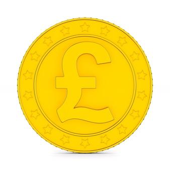 Moneda con símbolo libra esterlina sobre fondo blanco. ilustración 3d aislada