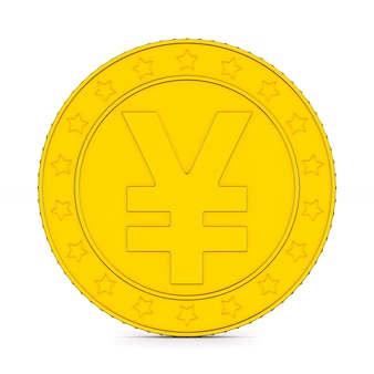 Moneda con símbolo yen sobre fondo blanco. ilustración 3d aislada